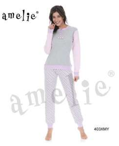 Πυτζάμα γυναικεία με μονόχρωμη μπλούζα και παντελόνι με σχέδιο AMELIE