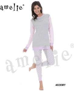 Γυναικεία πυτζάμα με μακρυά μπλούζα και παντελόνι με σχέδιο