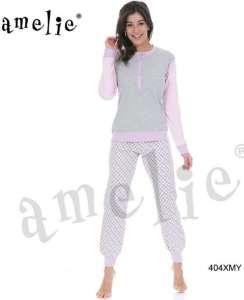 Γυναικεία πυτζάμα μπλούζα με χαμηλή πατιλέτα και παντελόνι με σχέδιο  AMELIE