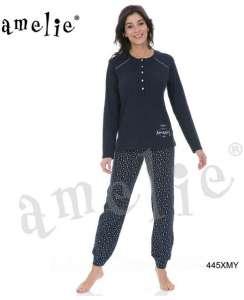 Μπλούζα μονόχρωμη μπλέ και παντελόνι μπλε με αστεράκια