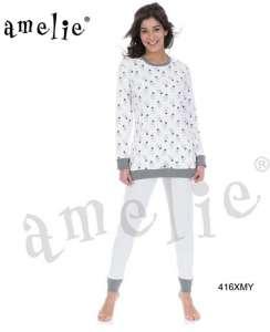 Πυτζάμα με μακρυά μπλούζα και σχέδιο λάμπες και παντελόνι με μικρό πουά  AMELIE