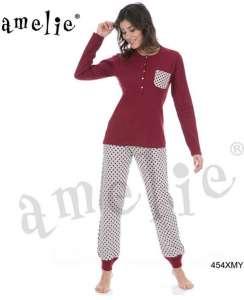 Πυτζάμα με χαμηλή πατιλέτα και παντελόνι πουά AMELIE