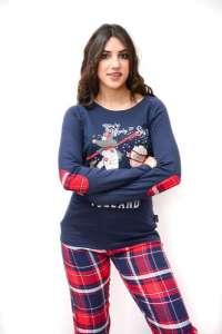 Πυτζάμα μπλέ με καρώ παντελόνι και σχέδιο στην μπλούζα Happy People