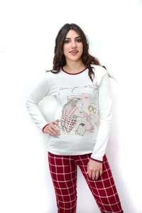 Πυτζάμα με καρώ μπορντω παντελόνι και εκρου μπλούζα με σχέδιο Happy People
