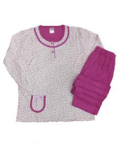 Πυτζάμα γυναικεία μπλούζα με μικρά λουλουδάκια και παντελόνι μώβ