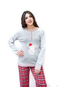 Πυτζάμα  με σχέδιο χιονάνθρωπο και καρώ παντελόνι AMELIE