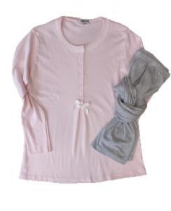 Πυτζάμα μπλούζα ροζ μικρό πουά και γκρι παντελόνι