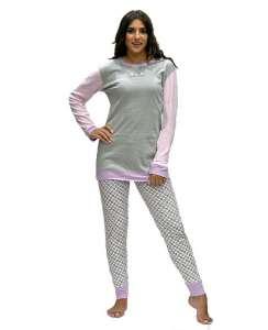 Γυναικεία πυτζάμα με μακρυά μπλούζα και παντελόνι με σχέδιο AMELIE