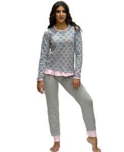 Μπλούζα με σχέδιο σκαντζοχοιράκια και μονόχρωμο γκρί παντελόνι AMELIE
