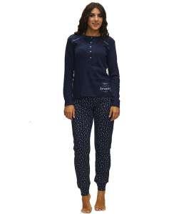 Μπλούζα μονόχρωμη μπλέ και παντελόνι μπλε με αστεράκια AMELIE