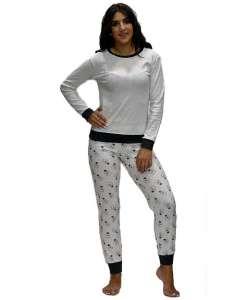 Πυτζάμα μπλούζα με μικρό ανθρακί πουά και παντελόνι με σχέδιο λάμπες AMELIE