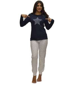 Galaxy πυτζάμα μπλέ μπλούζα με σχέδιο αστέρι και λευκό παντελόνι με αστεράκια   AMELIE