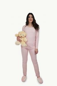 Πυτζάμα γυναικεία δαντέλα φιογκάκι Ροζ