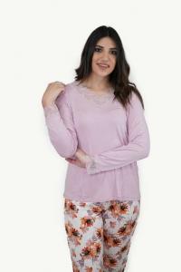 Πυτζάμα γυναικεία δαντέλα τελείωμα ροζ