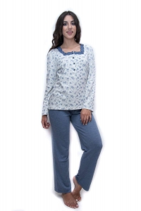 Πυζαμακι γυναικείο με σχέδιο μπλε ανθακια  ΓΙΩΤΑ