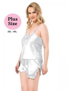 Σατέν Babydoll Plus Size Λευκό