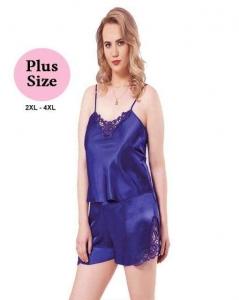 Σατέν Babydoll Plus Size Μπλε