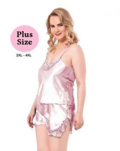 Σατέν Babydoll Plus Size Ροζ