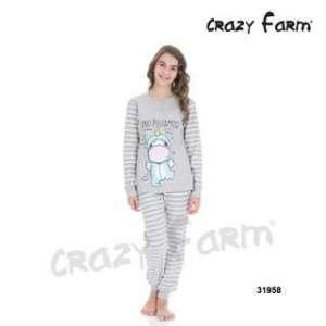 Πυτζάμα Εφηβική Για Κορίτσι Με Μακρύ Μανίκι  Μακρύ Παντελόνι Pigiamosa Crazy Farm