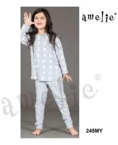 Πυτζάμα παιδική γκρί με γράμματα AMELIE