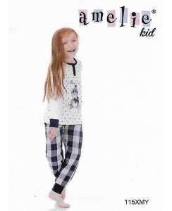 Πυτζάμα παιδική με καρώ μπλέ παντελόνι AMELIE